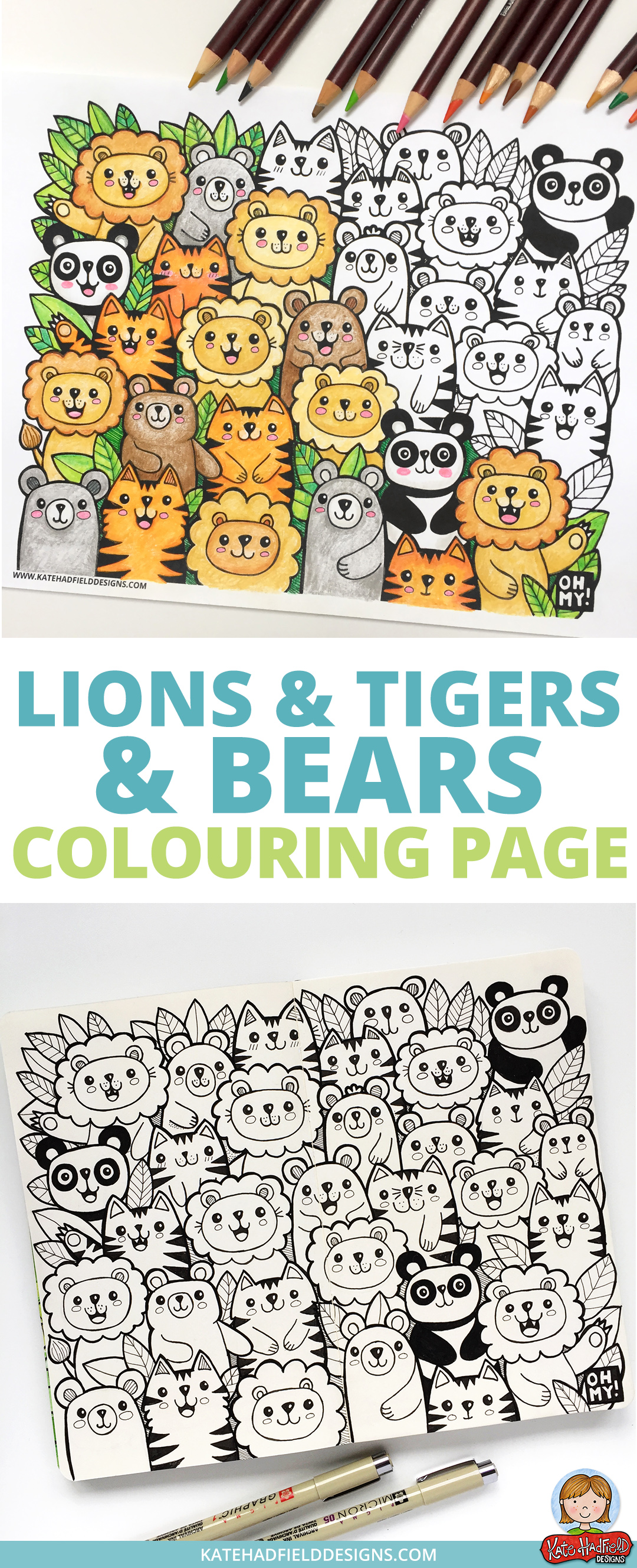 Fun kawaii style Lions and Tigers and Bears colouring page! Download this free colouring sheet and color in using pencils, crayons or markers. This is a fun coloring activity for kids and grown-ups alike!