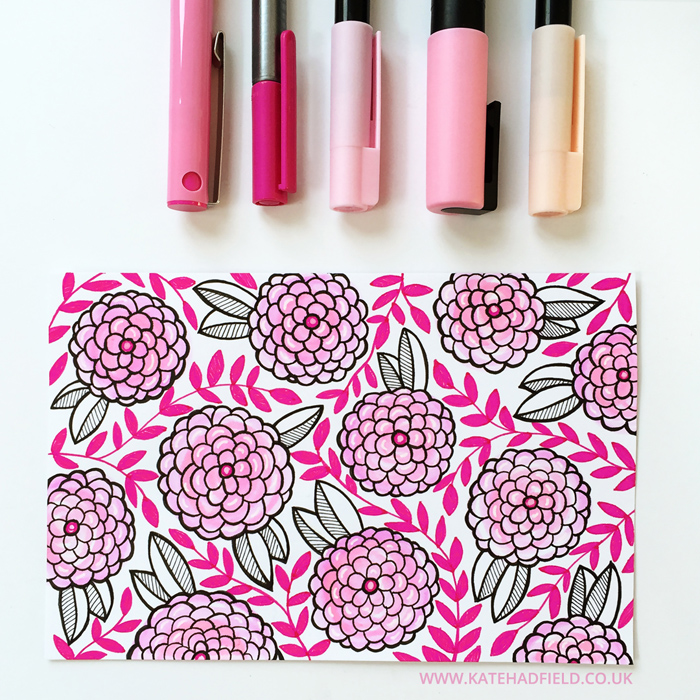 pink floral drawing on an index card