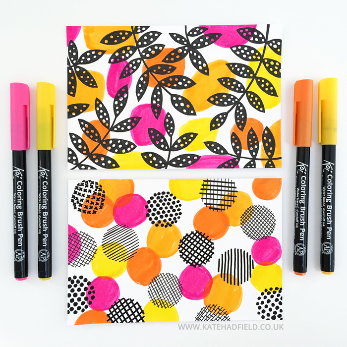 pink and orange floral pattern drawings on index cards