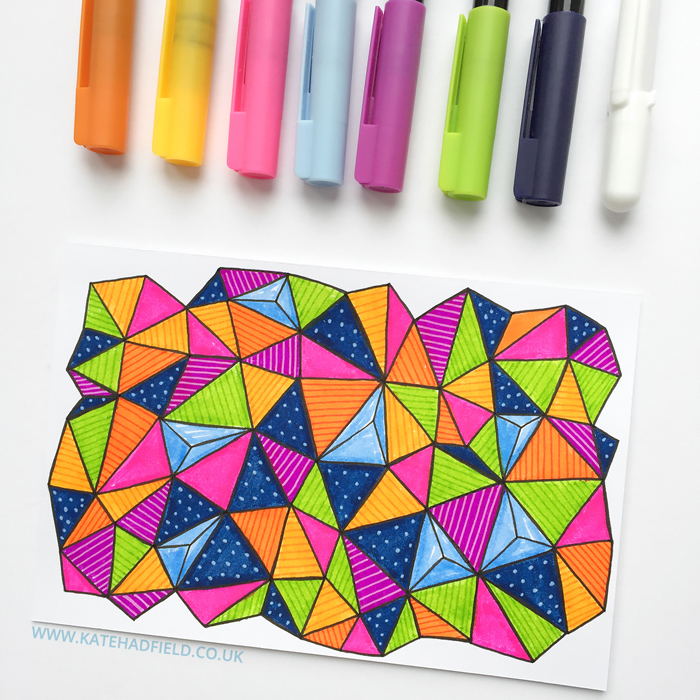 abstract geometric pattern drawing on an index card