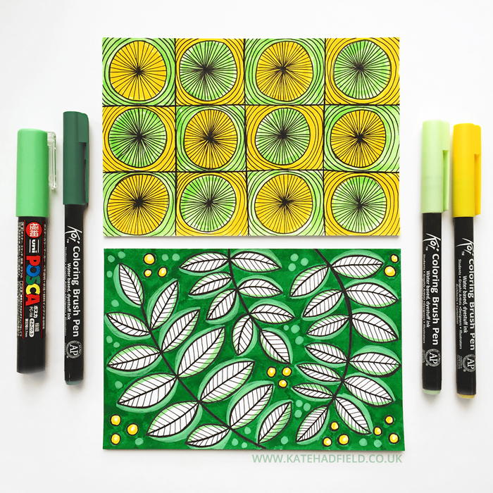 green and yellow floral abstract pattern drawings on index cards