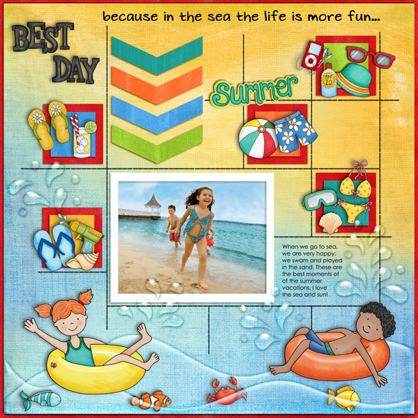 Kate Hadfield Designs Creative Team summer favourites - Scrapbook page by Karen