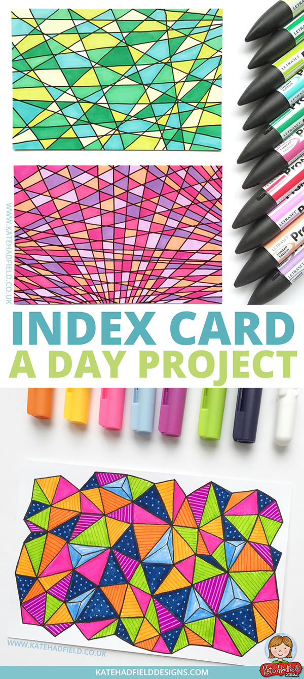 Index Card a Day Project - mixed media, sketchbook drawings, art journal project by Kate Hadfield. Patterns and drawings created on index cards, one a day for 61 days! Challenge hosted by Daisy Yellow Art. #indexcardaday