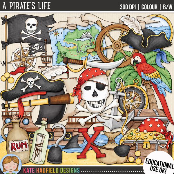 """""""A Pirate's Life"""": educational use pirate clip art from Kate Hadfield Designs"""