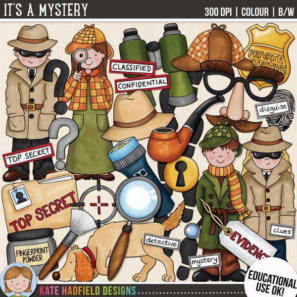 """""""It's A Mystery"""" educational use detective themed clip art by Kate Hadfield Designs"""