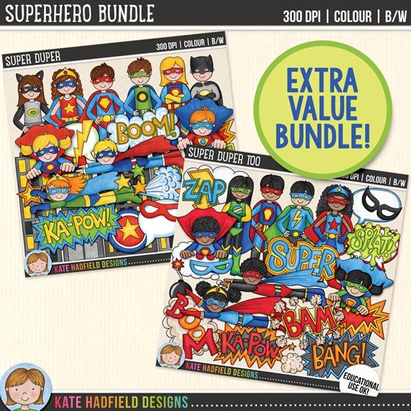 SuperHero Bundle: educational use superhero clip art bundle from Kate Hadfield Designs