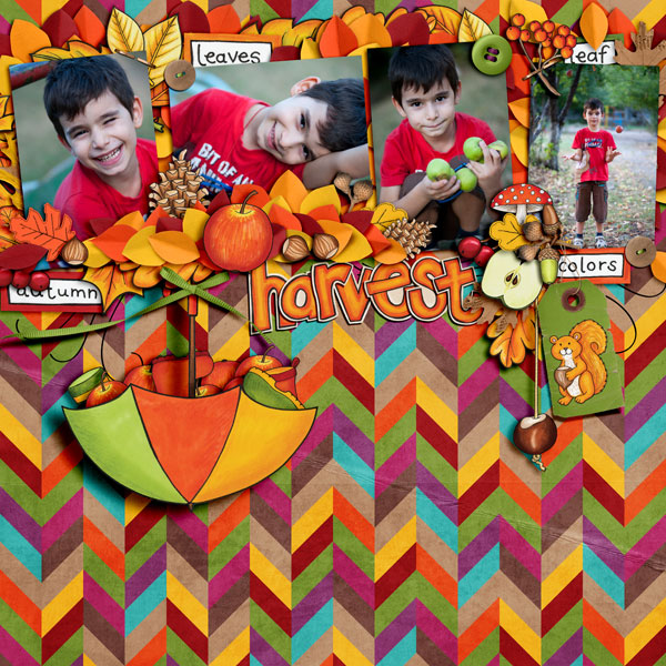 """Kate Hadfield Designs Creative Team """"Autumn & Fall"""" Favourites: Digital scrapbook layout by Iva"""