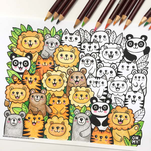 Lions and Tigers and Bears FREE kawaii colouring page from Kate Hadfield Designs! #katehadfielddesigns