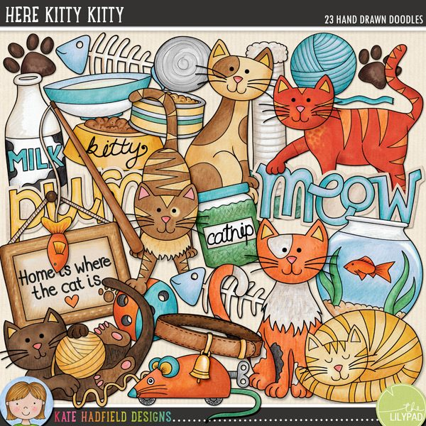 Here Kitty Kitty doodles from Kate Hadfield Designs