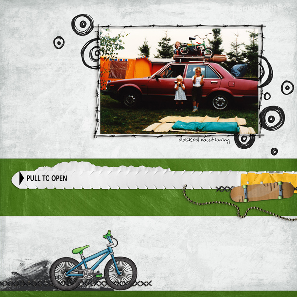 "Kate Hadfield Designs Creative Team inspiration: ""Srsly Stoked"" | Digital scrapbook layout by Berniek"