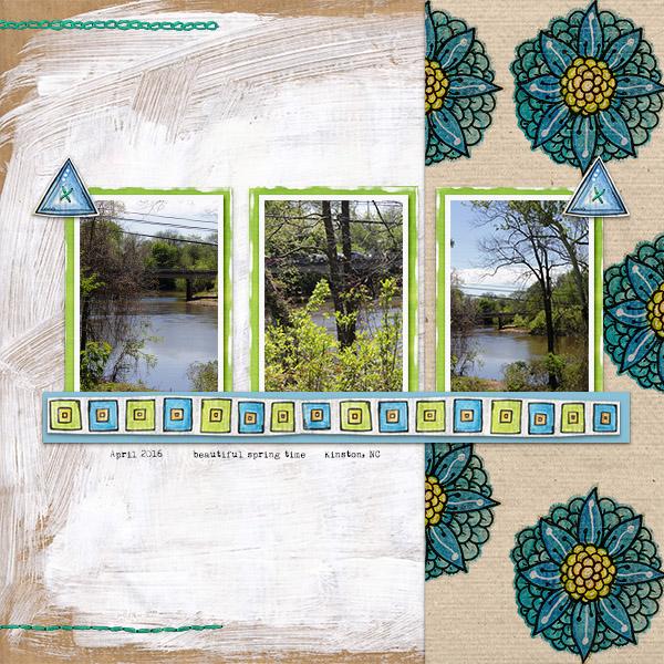 "Kate Hadfield Designs Creative Team ""Scrap Like Lorry"" FREE digital scrapbooking template! | Scrapbook layout by Christa"
