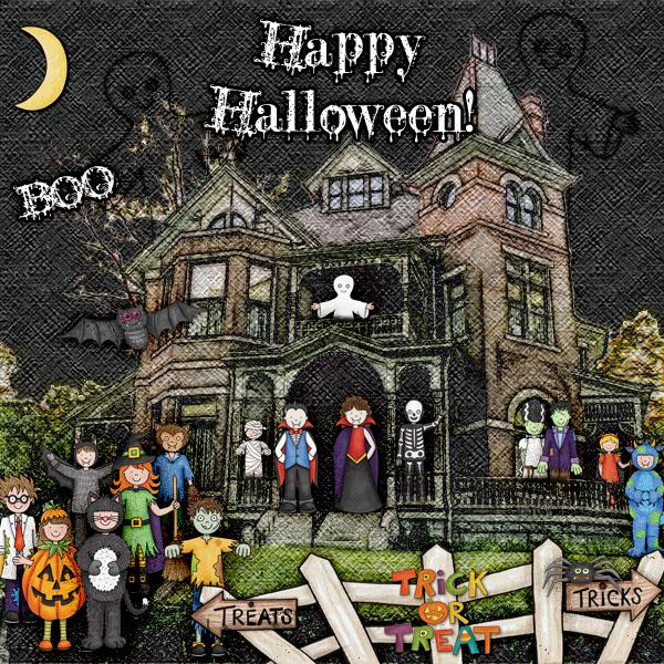 "Kate Hadfield Designs Creative Team inspiration: ""Halloween Favourites"" | Digital scrapbook layout by Christa"