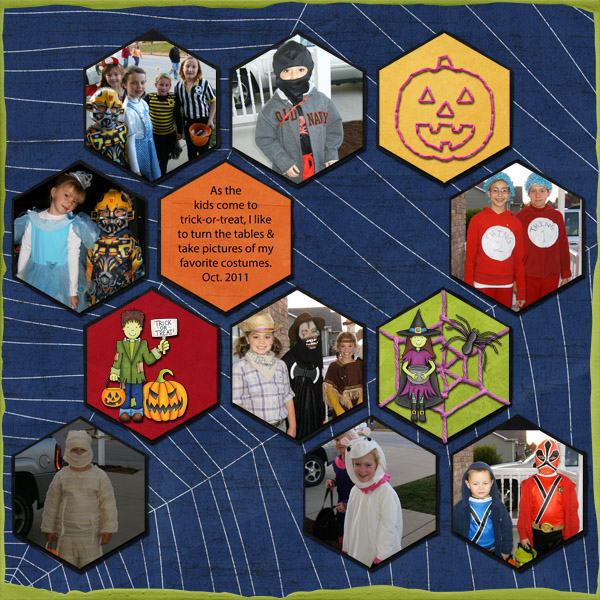 "Kate Hadfield Designs Creative Team inspiration: ""Halloween Favourites"" | Digital scrapbook layout by Jenni"