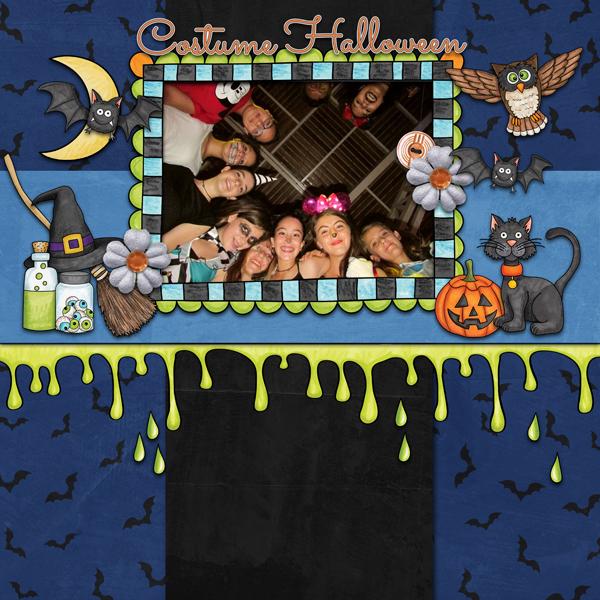 "Kate Hadfield Designs Creative Team inspiration: ""Halloween Favourites"" | Digital scrapbook layout by Karen"