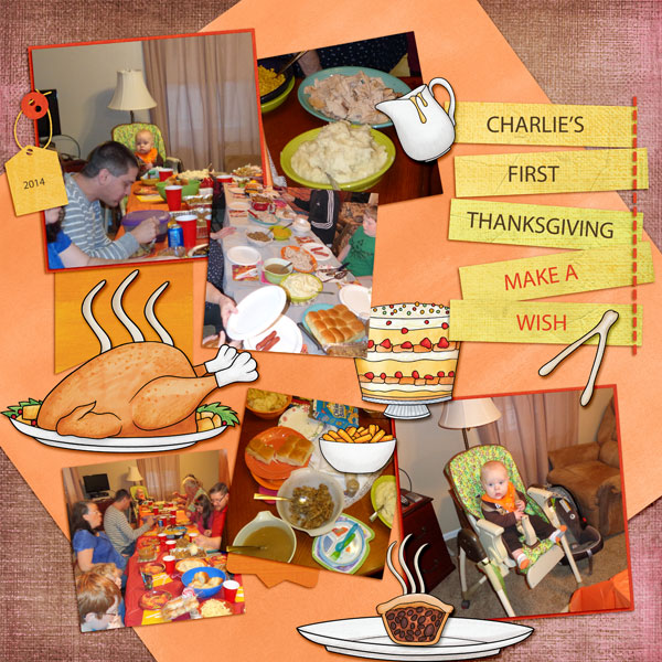 Ideas for Thanksgiving scrapbook pages! Kate Hadfield Designs Creative Team Thanksgiving Favourites: Digital scrapbook layout by Amy