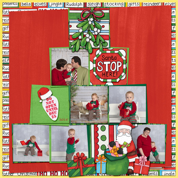 Christmas scrapbook layout created with digital scrapbooking kits from Kate Hadfield Designs – fun ideas for Christmas scrapbook pages! Layout by Creative Team member Amy