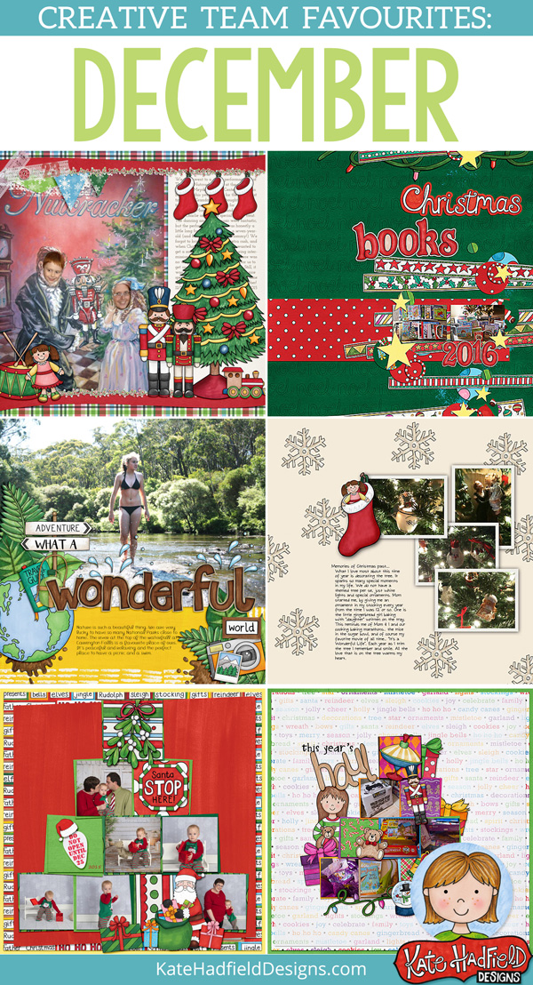 December favourite scrapbook pages from the Kate Hadfield Designs Creative Team! Christmas scrapbooking inspiration! #katehadfielddesigns