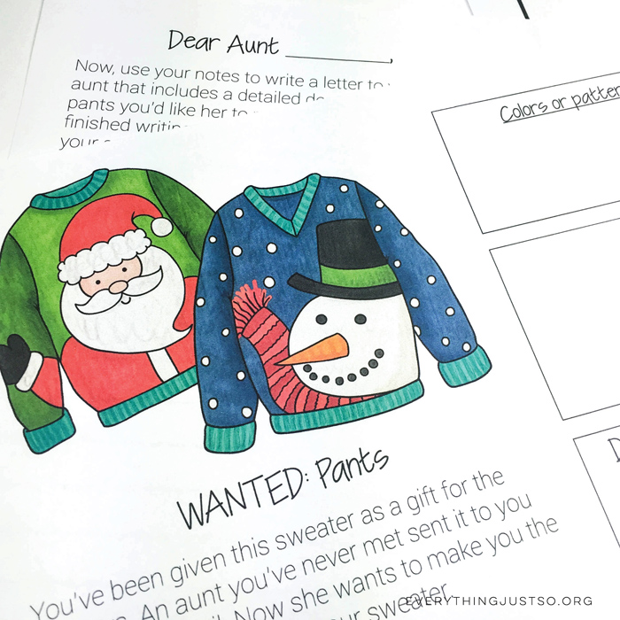 Christmas Sweaters Writing Mini-Unit from Everything Just So | www.katehadfielddesigns.com