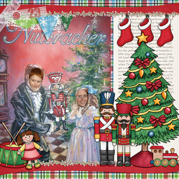 Christmas scrapbook layout created with digital scrapbooking kits from Kate Hadfield Designs – fun ideas for Christmas scrapbook pages! Layout by Creative Team member Molly