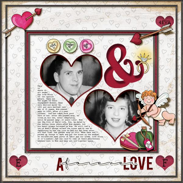 valentines digital scrapbook layout