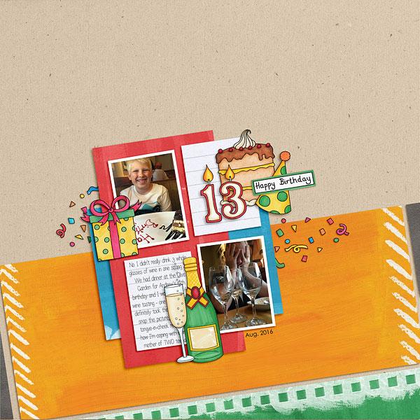 "Creative Team digital scrapbooking inspiration: ""Let's Celebrate!"" | Kate Hadfield Designs"