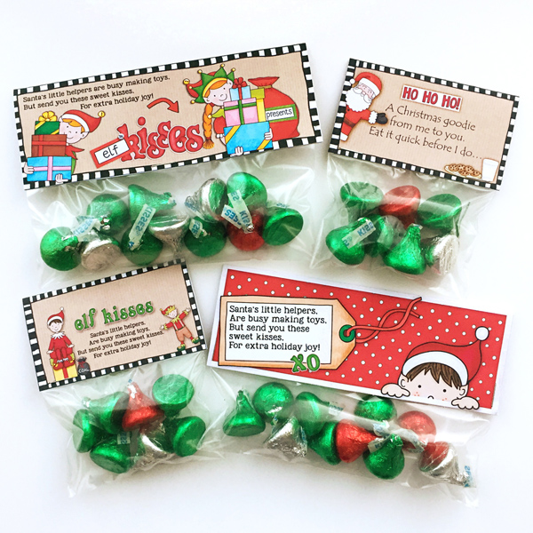 FREE Elf Kisses Christmas bag toppers from Kate Hadfield Designs