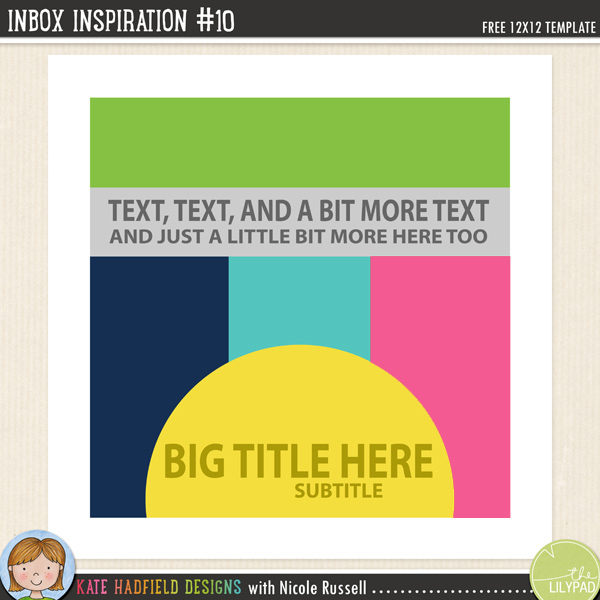 Inbox Inspiation #10 FREE digital scrapbooking template / scrapbook sketch from Kate Hadfield Designs