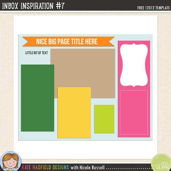 Inbox Inspiration #7 FREE digital scrapbooking template / scrapbook sketch from Kate Hadfield Designs