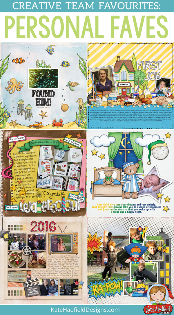 Favourite digital scrapbook layouts - inspiration from the Kate Hadfield Designs creative team! Digital scrapbooking layout ideas.