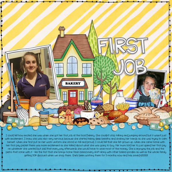First Job digital scrapbooking page | scrapbook layout ideas | Kate Hadfield Designs creative team layout by Kirstie