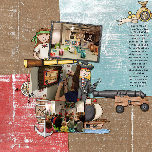 Pirates digital scrapbooking page | scrapbook layout ideas | Kate Hadfield Designs creative team layout by Lorry