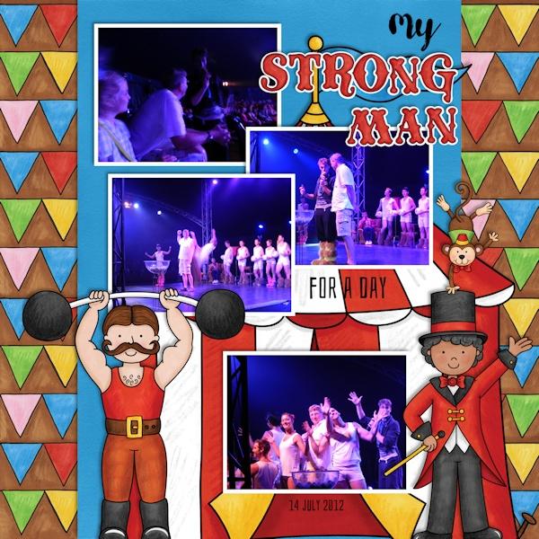 Circus digital scrapbook page | scrapbook layout ideas | Kate Hadfield Designs Creative Team member layout by Olga