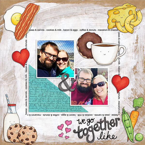 love themed digital scrapbook layout