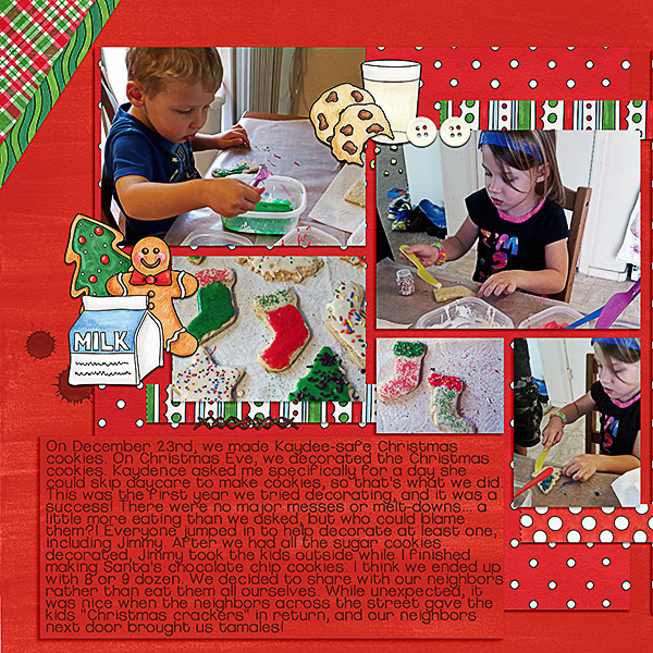 Christmas Cookies digital scrapbooking page | scrapbook layout ideas | Kate Hadfield Designs creative team layout by Kristina