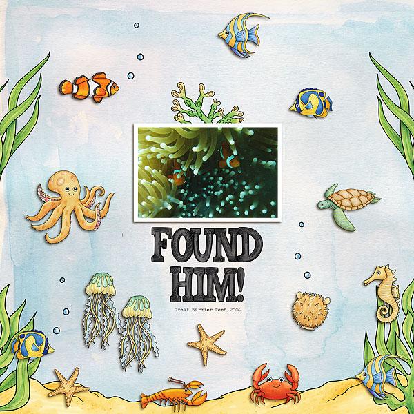 """Found Him!"" digital scrapbooking page | scrapbook layout ideas | Kate Hadfield Designs creative team layout by Melanie"