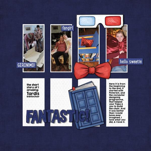 """Tardis Chair"" digital scrapbooking page | scrapbook layout ideas | Kate Hadfield Designs creative team layout by Olga"