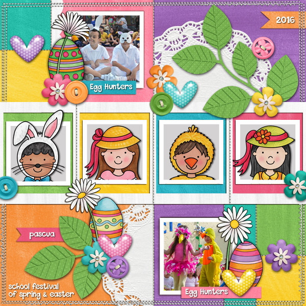 Digital scrapbook page created with the Egg Hunters digital scrapbook kit from Kate Hadfield Designs!   Layout by Creative Team member Karen