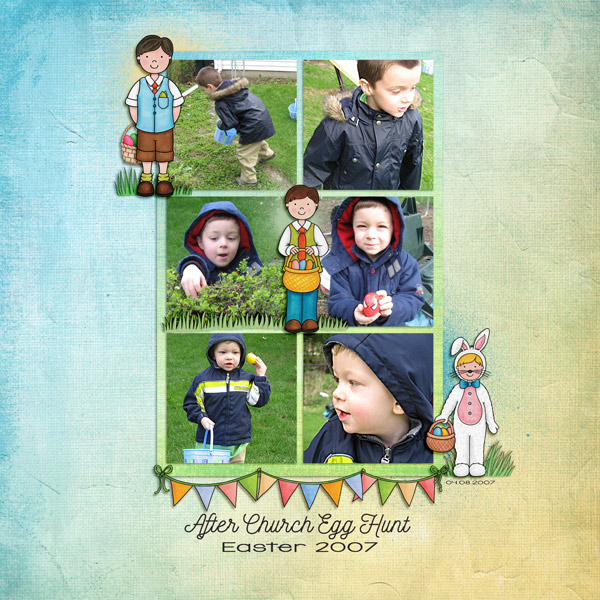 Digital scrapbook page created with the Egg Hunters digital scrapbook kit from Kate Hadfield Designs!   Layout by Creative Team member Keela