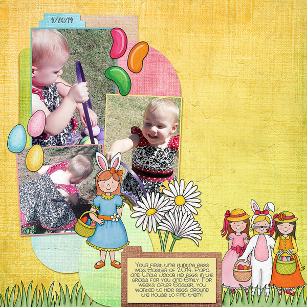 Digital scrapbook page created with the Egg Hunters digital scrapbook kit from Kate Hadfield Designs!   Layout by Creative Team member Kristina