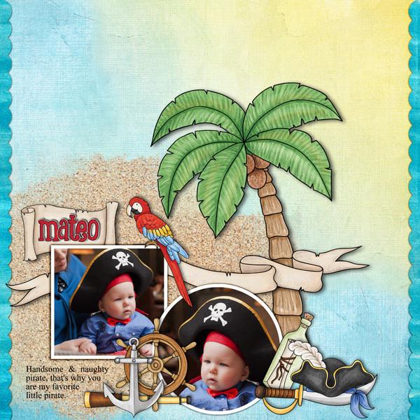 pirate digital scrapbook layout