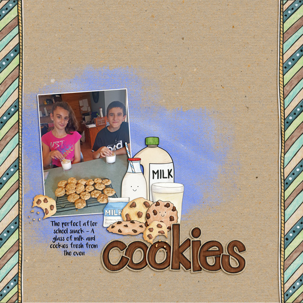 cookies digital scrapbook page created with template