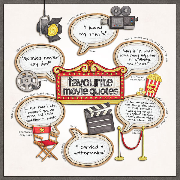 """Favourite Movie Quotes"" photo-less digital scrapbook layout 