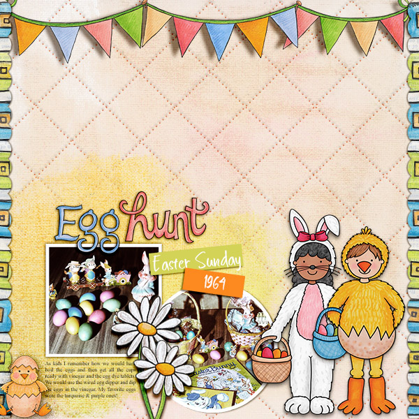 Digital scrapbook page created with the Egg Hunters digital scrapbook kit from Kate Hadfield Designs!   Layout by Creative Team member Christa