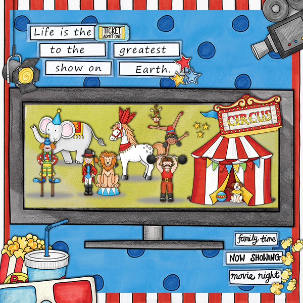 Circus digital scrapbook page | scrapbook layout ideas | Kate Hadfield Designs Creative Team member layout by Agnes