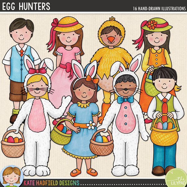 Egg Hunters Easter digital scrapbooking kit / Easter kids clip art | Hand-drawn doodles for digital scrapbooking, crafting and teaching resources from Kate Hadfield Designs! Click to see projects created using these illustrations!