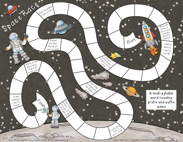 """Space board game created with """"Blast Off!"""" digital scrapbooking kit by Kate Hadfield 
