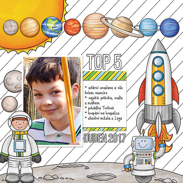 """Space digital scrapbook page created with """"Blast Off!"""" digital scrapbooking kit by Kate Hadfield 