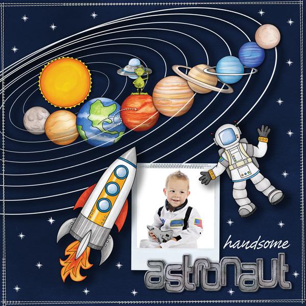 "Space digital scrapbook page created with ""Blast Off!"" digital scrapbooking kit by Kate Hadfield | layout by Creative Team member Karen"