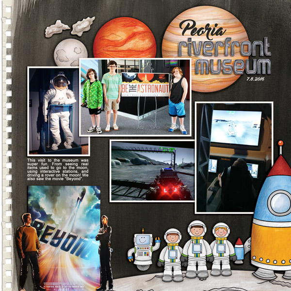 "Space digital scrapbook page created with ""Blast Off!"" digital scrapbooking kit by Kate Hadfield | layout by Creative Team member Keela"