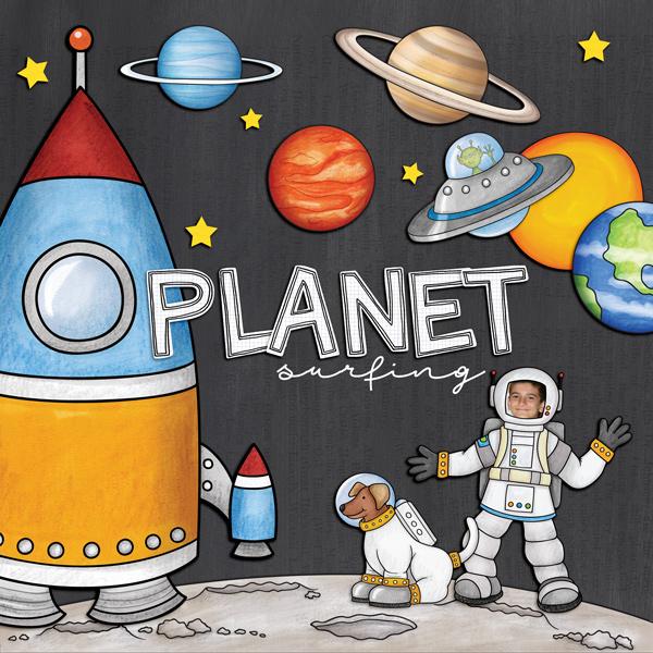 "Space digital scrapbook page created with ""Blast Off!"" digital scrapbooking kit by Kate Hadfield | layout by Creative Team member Kirstie"